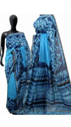 Navy Blue With Sky Blue Print Design Chanderi Silk Cotton Saree-yespoho