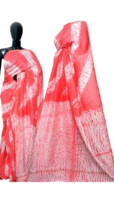 Dark Peach With White Print Design Chanderi Silk Cotton Saree-yespoho