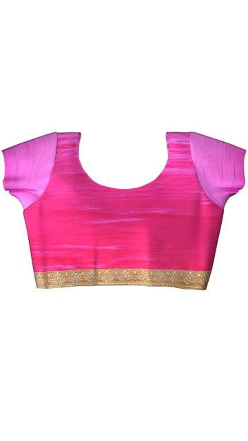 Peach and Pink Chiffon saree with Unstitched Blouse