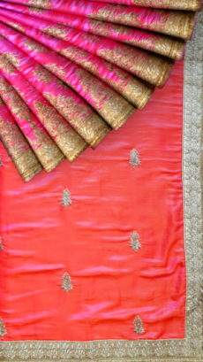 Peach and Pink Chiffon saree-yespoho