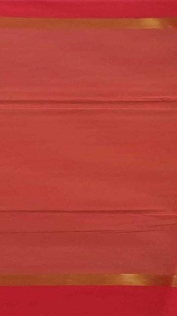 Yespoho Tomato red cotton saree with plain pattern