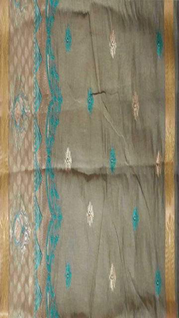 Yespoho Cotton saree with Flower Butta pattern and Dusty Grey and Teal color