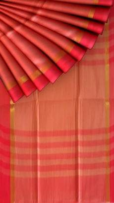 Tomato red cotton saree with plain pattern-yespoho