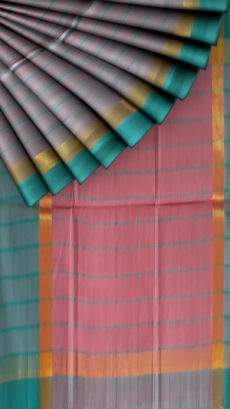 Pink and Teal Cotton saree with Plain border-yespoho