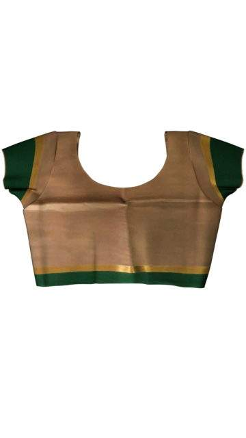 Mustard and Green Cotton saree with striped pallu with Unstitched Blouse