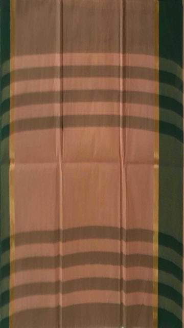 Green Mustard and Green Cotton saree with striped pallu