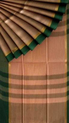 Mustard and Green Cotton saree with striped pallu-yespoho