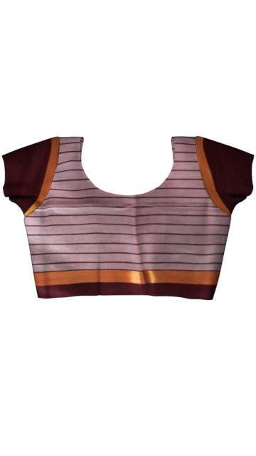 Maroon Cotton saree with thin stripes pattern with Unstitched Blouse