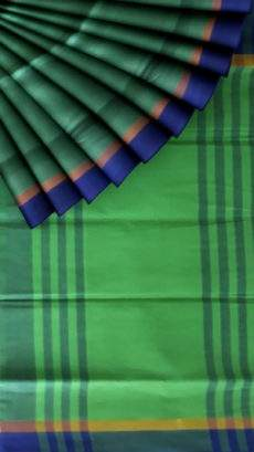 Green and Purple cotton saree with striped pallu-yespoho