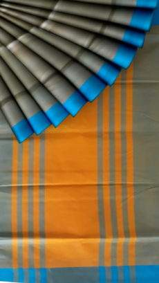 Blue and mustard cotton saree with plain pattern-yespoho