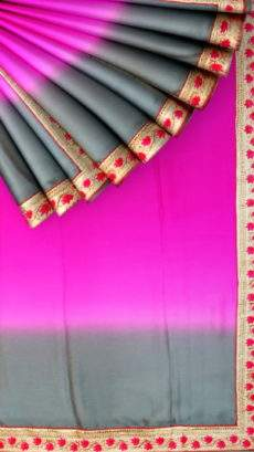 Flowing Chiffon saree with Plain pattern and Grey and Pink color-yespoho