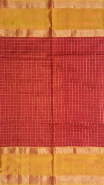 Yespoho Red with Golden Yellow border Mahanati style Uppada silk saree
