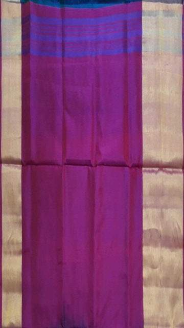 Blue (SOLD) Blue with magenta based double color pallu Uppada silk saree
