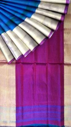 (SOLD) Blue with magenta based double color pallu Uppada silk saree-yespoho