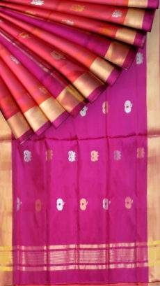 Orangish pink saree with magenta pallu fancy design Uppada silk saree-yespoho