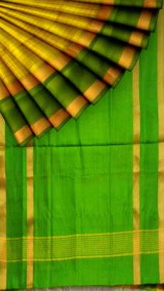 Lemon Yellow with green border Mahanati style Uppada silk saree-yespoho