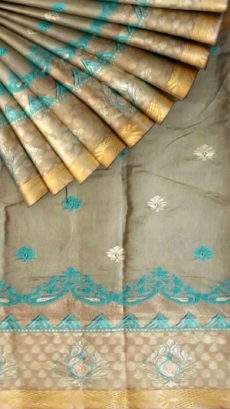 Cotton saree with Flower Butta pattern and Dusty Grey and Teal color-yespoho