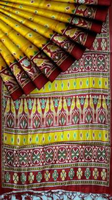 Yellow with Tomato red pallu and fancy border silk saree-yespoho