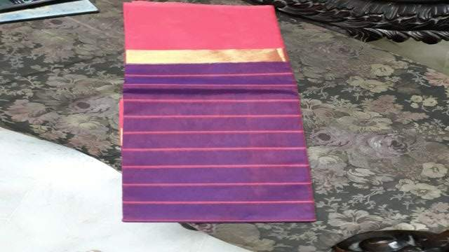 Yespoho (SOLD) Purple with pink border Cotton saree