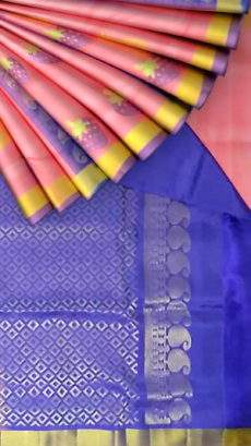 Orangish pink with royal blue pallu light weight Uppada silk saree-yespoho