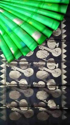 Green with black pallu light weight Uppada silk sare-yespoho