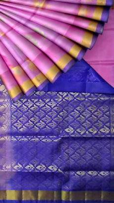 Rose and Royal Blue Uppada Jamdani saree with butta pallu-yespoho