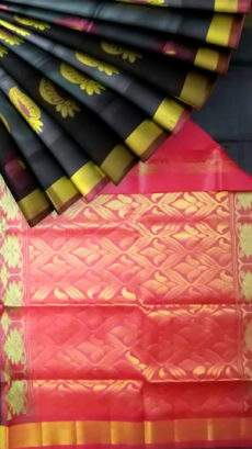 Black and Brick Red Uppada Jamdani Saree with zari-yespoho