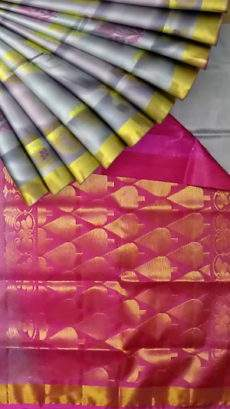 Grey Uppada silk saree with designer dark pink pallu-yespoho