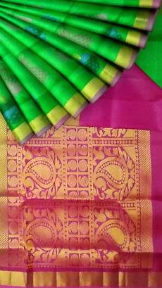 Rama green with designer rich maroon pallu Uppada silk saree-yespoho
