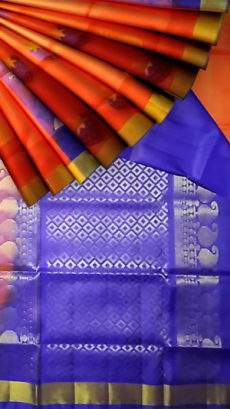 Light weight Orange with royal blue designer rich pallu Uppada silk saree-yespoho