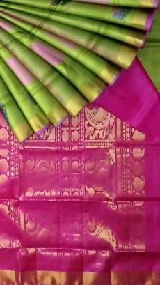 Pale Green with Maroon pallu Light weight Uppada silk saree-yespoho