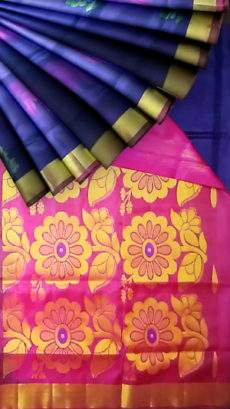 Maroon and Royal Blue Uppada Jamdani With Butta saree-yespoho