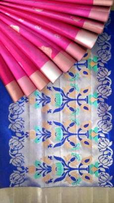 Pink with royal blue traditional flowers in the pallu Uppada silk saree-yespoho