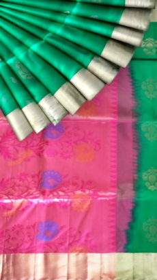 Green with designer rich pink pallu Uppada silk saree-yespoho
