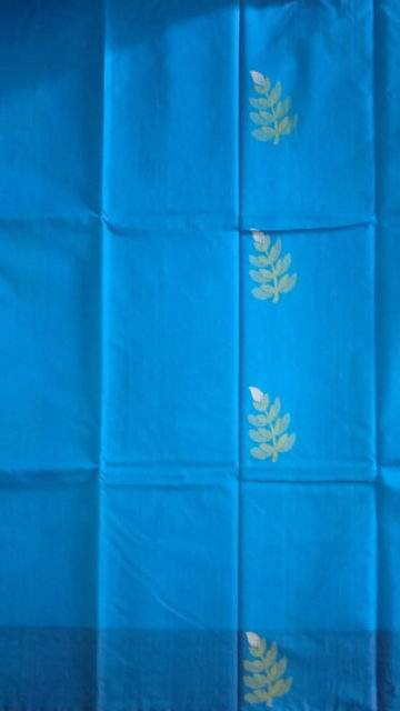 Yespoho Blue with designer rich pallu Silk Cotton saree