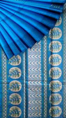 Blue with designer rich pallu Silk Cotton saree-yespoho
