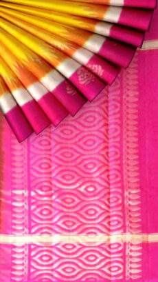Yellow with pink pallu Silk cotton saree-yespoho