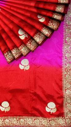 Excellent Red and Pink Raw Silk saree-yespoho