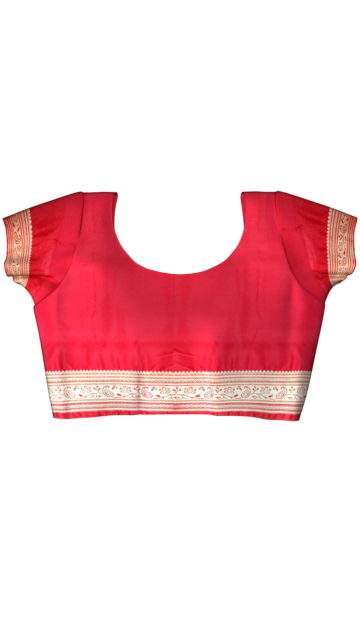 Terrific Navy Blue and Red Banarasi with Plain pattern with Unstitched Blouse