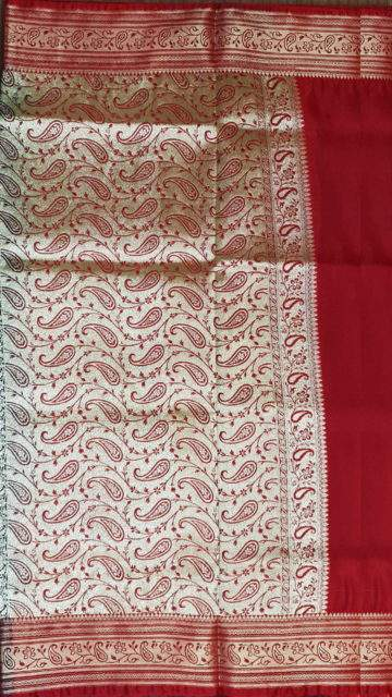 Navy blue Terrific Navy Blue and Red Banarasi with Plain pattern