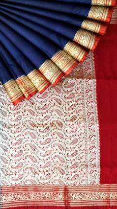 Terrific Navy Blue and Red Banarasi with Plain pattern-yespoho