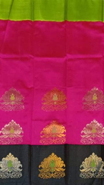 Yespoho Chic Black and Pink Kuppadam Silk Saree with Half-fine Zari