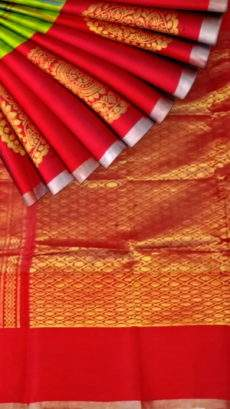 Beautiful Red and Green Kuppadam Silk Saree with Checks Pattern-yespoho