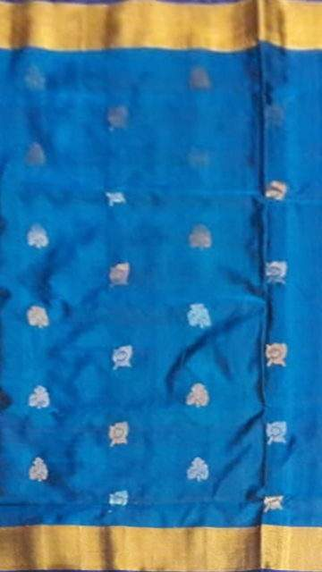 Yespoho Pure soft silk Uppada Saree with blue color body & pallu with golden and silver butta design