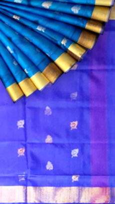 Pure soft silk Uppada Saree with blue color body & pallu with golden and silver butta design-yespoho