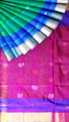 Pure soft silk green with magenta and blue pallu Uppada Saree with golden and silver butta design-yespoho