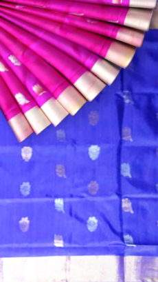 Pure soft silk magenta with emerald blue pallu Uppada Saree with golden and silver butta design-yespoho