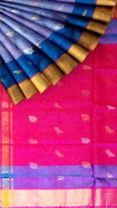 Pure soft silk Mettalic Blue Uppada Saree with butta design-yespoho