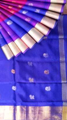 Pure soft silk Magenta & Blue Uppada Saree with Peacock & Flower butta-yespoho