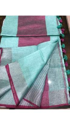 Light teal Linen Saree